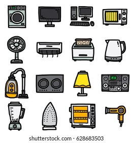 electrics housewares, icons set / cartoon vector and illustration, hand drawn style, isolated on white background.