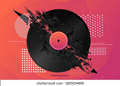 Electro banner poster with vinyl record. Night club vector background. Music festival flyer template with abstract element.