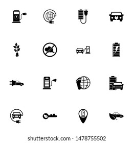 Electro Car icon - Expand to any size - Change to any colour. Perfect Flat Vector Contains such Icons as hybrid, charge, engine, electra, plug, transportation, battery, cable, pollution, power, gas