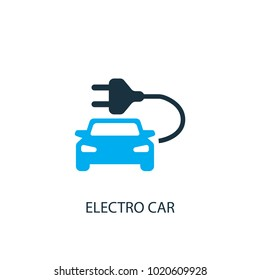 Electro car icon. Logo element illustration. Electro car symbol design from 2 colored collection. Simple Electro car concept. Can be used in web and mobile.