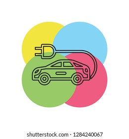 Electro car icon. Logo element illustration. Electro car symbol design collection. Simple Electro car concept. Can be used in web and mobile. Thin line pictogram - outline stroke