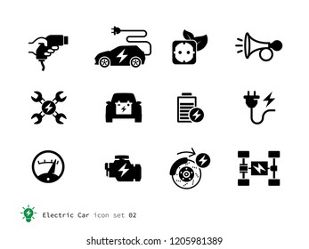 Electro Car related icons collection