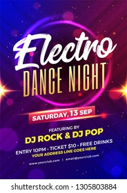 Electro dance night party template or flyer design with time, date and venue details.