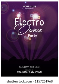 Electro dance party poster and flyer design vector illustration.
