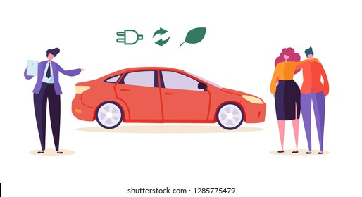 Electro Eco Car Seller Sell Auto Couple. Man Woman Character Buy Ecology Friendly Transport Vehicle. Environment Pollution Preserve Technology Automobile Business Flat Cartoon Vector Illustration