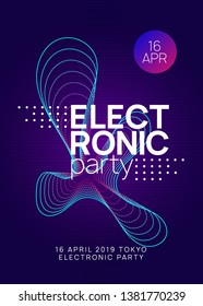 Electro event. Commercial discotheque brochure layout. Dynamic gradient shape and line. Electro event neon flyer. Trance dance music. Electronic sound. Club fest poster. Techno dj party.