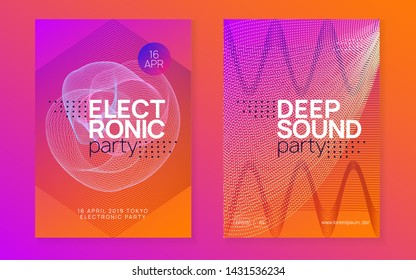 Electro event. Dynamic fluid shape and line. Trendy concert cover set. Electro event neon flyer. Trance dance music. Electronic sound. Club fest poster. Techno dj party.