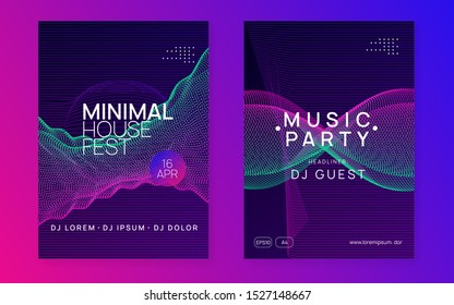 Electro event. Dynamic gradient shape and line. Trendy discotheque magazine set. Electro event neon flyer. Trance dance music. Electronic sound. Club fest poster. Techno dj party.