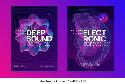 Electro event. Trendy concert invitation set. Dynamic gradient shape and line. Electro event neon flyer. Trance dance music. Electronic sound. Club fest poster. Techno dj party.