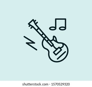 Electro guitar icon line isolated on clean background. Electro guitar icon concept drawing icon line in modern style. Vector illustration for your web mobile logo app UI design.