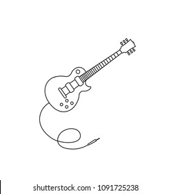 electro guitar icon outline isolated on white. simple vector icon. Guitar icon vector music. Outline guitar vector for web design isolated on black background.Music instrument vector.Jack