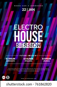 """Electro House session"" party flyer. Dynamic background. Eps10 vector."