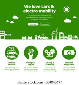 Electro mobility, electric cars, ecology & green energy concept. Banners for one page website design template.
