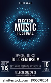 Electro music festival. Party poster. Stylish blue glittering halftone frame. Glowing vibrant ring. Text decoration. Festive banner. Club and DJ name. Vector illustration. EPS 10.