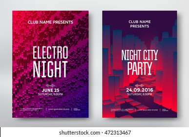 Electro night and night city party poster template design. Music club background. Vector illustration