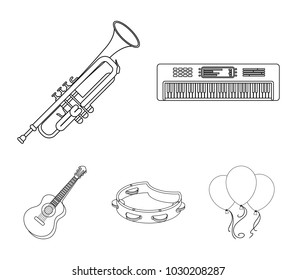 Electro organ, trumpet, tambourine, string guitar. Musical instruments set collection icons in outline style vector symbol stock illustration web.