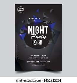 Electro Party Flyer, Template or Banner with abstract geometrical background set - Vector