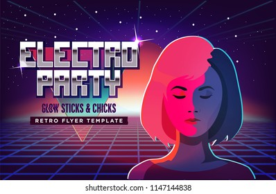 Electro party music poster template. Violet neon fashion girl. 80s Retro Sci-Fi Background with Sunrise or Sunset. Vector futuristic synth retro wave illustration in 1980s posters style.