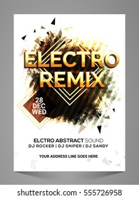 Electro Remix, Stylish Musical Party Flyer, Banner, Pamphlet or Invitation with abstract design.