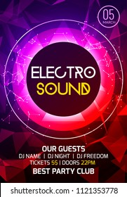 Electro sound party music poster. Electronic club deep music. Musical event disco trance sound. Night party invitation. DJ flyer poster.