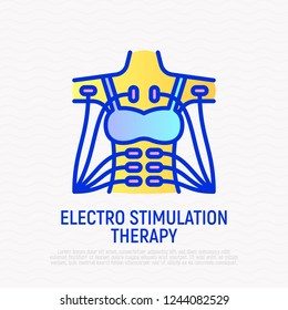 Electro stimulation therapy thin line icon: electrodes on woman's body. Modern vector illustration.