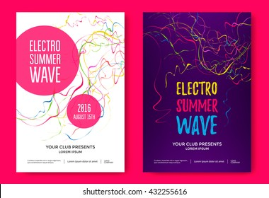 Electro summer wave music poster. Club night flyer. Abstract colored waves background.