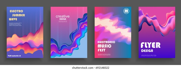 Electro summer wave poster. Club party flyer design. Abstract waves music