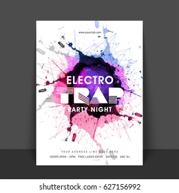 Electro Trap Music Party celebration, one page Flyer, Banner or Template with date and time details.