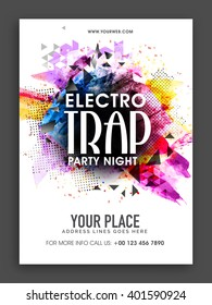 Electro Trap, Party Night Template, Banner or Flyer presentation with colorful abstract design.