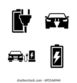 Electrocar. Simple Related Vector Icons Set for Video, Mobile Apps, Web Sites, Print Projects and Your Design. Black Flat Illustration on White Background.