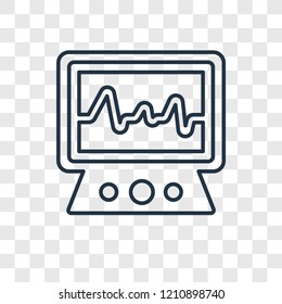 Electrocardiogram concept vector linear icon isolated on transparent background, Electrocardiogram concept transparency concept in outline style