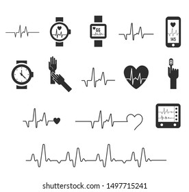 Electrocardiogram, ecg or ekg - medical vector icons. Fitness and Gym line icons. Cardiogram on white background. Pulse oximeter icon. heart icon with sign heartbeat. Vector illustration. Heart sign
