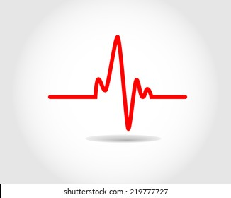 Electrocardiogram, ecg or ekg - medical vector icon