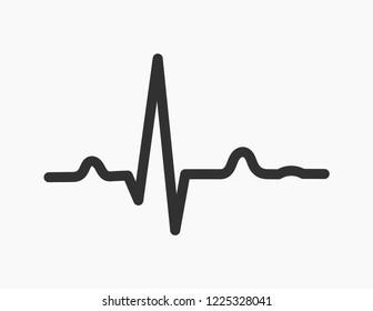 Electrocardiogram ECG heartbeat rhythm line graph icon. EKG vector illustration.