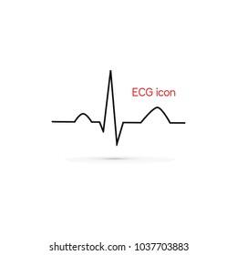 Electrocardiogram, ecg line. Vector medical icon,
