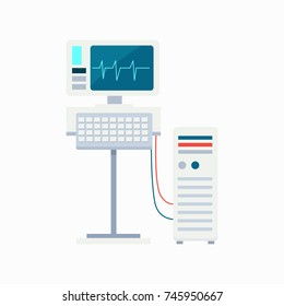 Electrocardiogram equipment with monitor and keyboard connected to computer. Vector illustration with ecg with heartbeat on screen isolated on white background
