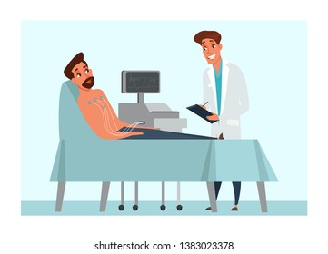 Electrocardiogram flat vector illustration. Heart activity diagnostics. Man cartoon character lying on clinic bed. Cardiologist holding patient card. Wires connecting to hospital ECG equipment monitor