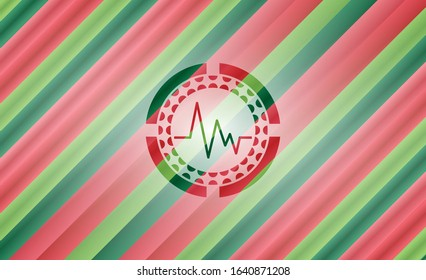 electrocardiogram icon inside christmas badge.