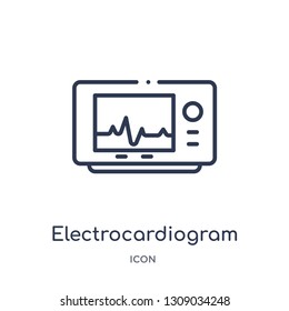electrocardiogram icon from science outline collection. Thin line electrocardiogram icon isolated on white background.