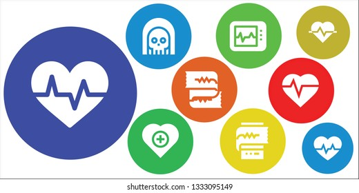 electrocardiogram icon set. 9 filled electrocardiogram icons.  Simple modern icons about  - Cardiogram, Death, Electrocardiogram, Health, Heartbeat