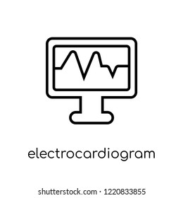 Electrocardiogram icon. Trendy modern flat linear vector Electrocardiogram icon on white background from thin line Health and Medical collection, editable outline stroke vector illustration