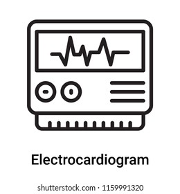 Electrocardiogram icon vector isolated on white background, Electrocardiogram transparent sign , line or linear symbol and sign design in outline style