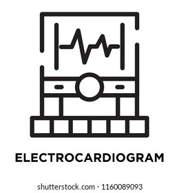 Electrocardiogram icon vector isolated on white background, Electrocardiogram transparent sign , line symbol or linear element design in outline style
