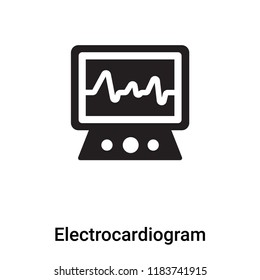 Electrocardiogram icon vector isolated on white background, logo concept of Electrocardiogram sign on transparent background, filled black symbol