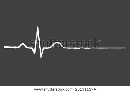 electrocardiogram last life sign on blackboard stock vector royalty