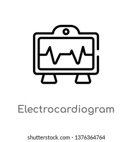 electrocardiogram line vector line icon. Simple element illustration. electrocardiogram line outline icon from technology concept. Can be used for web and mobile
