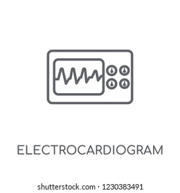 Electrocardiogram linear icon. Modern outline Electrocardiogram logo concept on white background from Health and Medical collection. Suitable for use on web apps, mobile apps and print media.