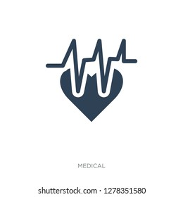 electrocardiogram on heart icon vector on white background, electrocardiogram on heart trendy filled icons from Medical collection, electrocardiogram on heart vector illustration