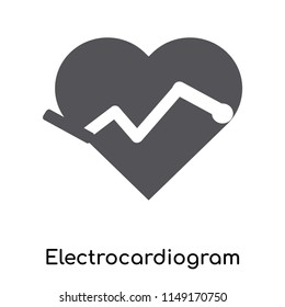 Electrocardiogram on heart shape icon vector isolated on white background for your web and mobile app design, Electrocardiogram on heart shape logo concept