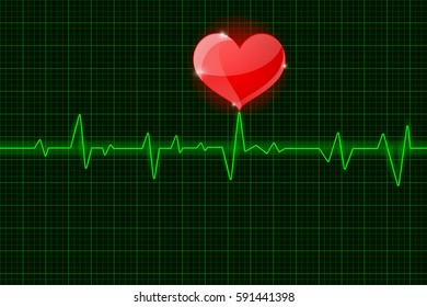 Electrocardiogram sign. Green waves with red heart symbol. Vector illustration